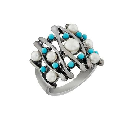 Pearl Rhodium Plated Ring