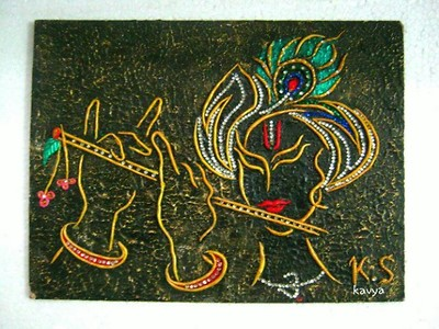 Krishna painting with texture work framed