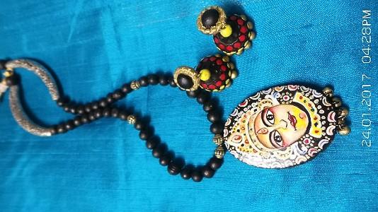 Handpainted neckpiece with matching  cms dia jhumkas