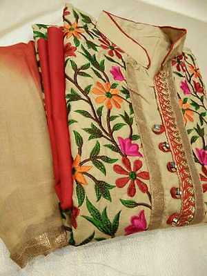 Kashmiri Embroidery TOP WITH Cotton bottom with chiffon duppatta