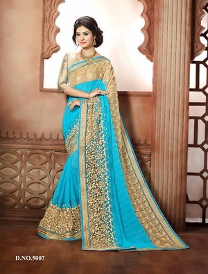 Wedding Special Pure Georgette Embroidered Saree