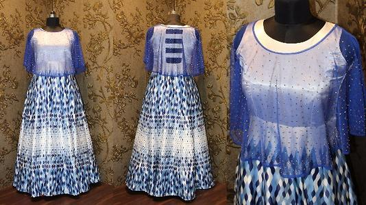 Ecru, grey and blue leaf illusion print dress.