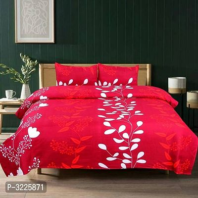 Beautiful Polycotton Double Size Bedsheet with 2 Pillowcover (150 Gsm)