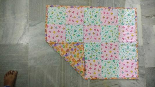 Squared quilt pink and green and orange nursery print
