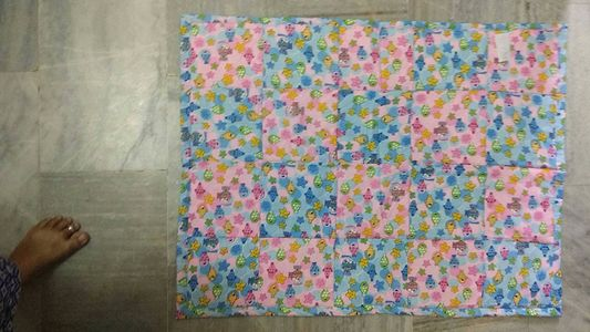 Squared quilt pink and blue nursery print