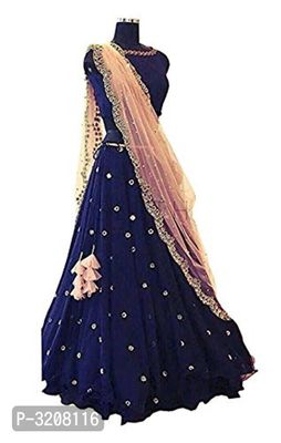 Blue Banglori Satin Embroidered Lehenga Choli With Net Dupatta