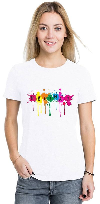 White Unisex Half Sleeve Printed Holi Special T-Shirt