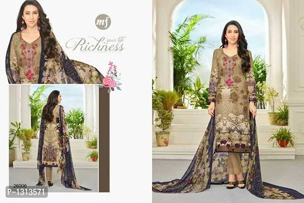 Unstitched Suits with Chiffon Dupatta with self embroidery. Catalog pieces.