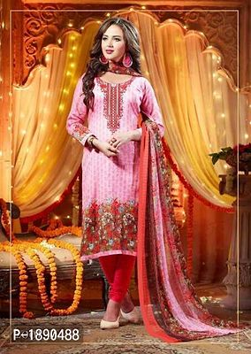 Glace Cotton Embroidered Suit