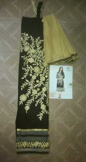 chanderi coffee brown unstitched material