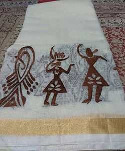 Hand woven kota with embroidery
