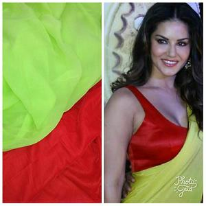 sunny Leone saree in lime and red