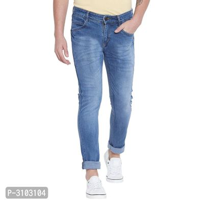 Men's Blue Cotton Blend Faded Slim Fit Mid-Rise Jeans