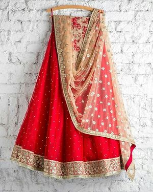 Red never be the same.... .#red & the beige lehenga .