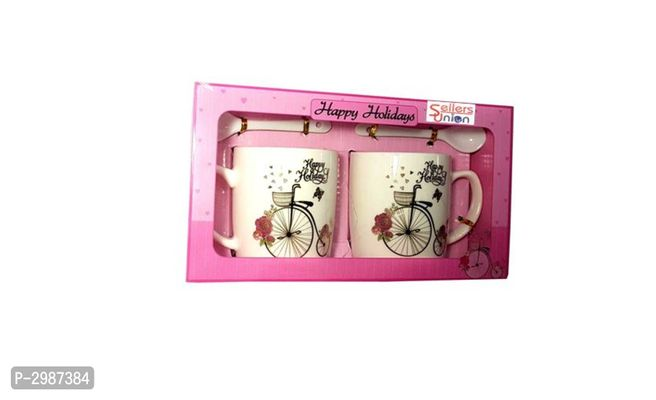 Sellers Union Designer Holiday Printed Ceramic Gift Mug - Pack Of 2 250 Ml