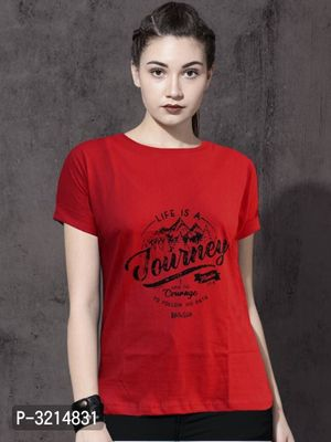 Women's Cotton Printed Casual Red Tops and T Shirts