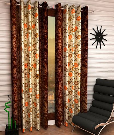 Brown Shabby Style Pearl Flower Poly Silk Curtain Set Of 2pc XL Long