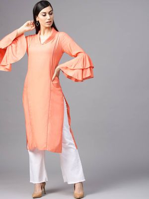 Peach Solid Straight Kurta With Ladder Lace Details