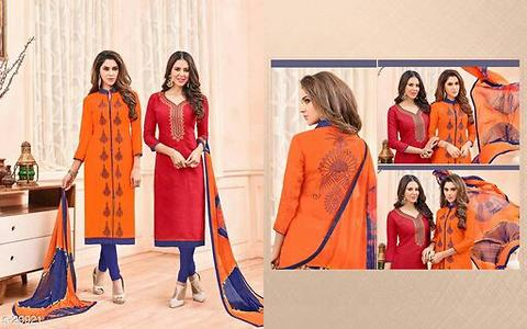 Chanderi jaquard tops with common bottom and dupatta