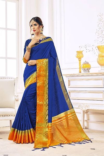 Blue Color Nylon Silk Hand Dyed Saree