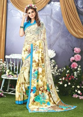 Multi Color Faux Gerogette Summer Collection Saree