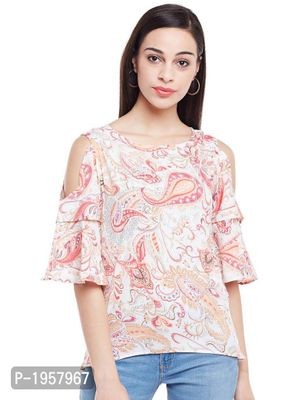 White Printed Crepe Cold Shoulder Top