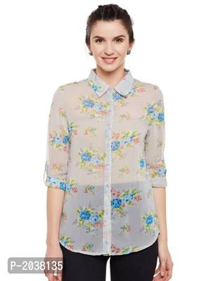 Off White Printed Georgette Shirt