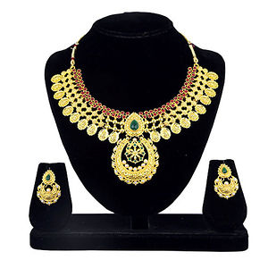 Kriaa Maroon And Green Pota Stone Gold Plated Necklace Set