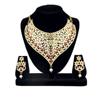 Kriaa Gold Plated Pink Austrian Stone And Kundan Zinc Alloy Necklace Set