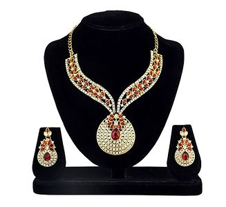 Kriaa Gold Plated Red Kundan And Austrian Stone Necklace Set