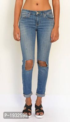 Knee Ripped Ankle Length Skinny Fit Jeans