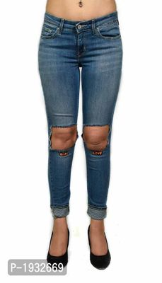 Girl Love Knee Ripped Ankle Length Skinny Fit Jeans