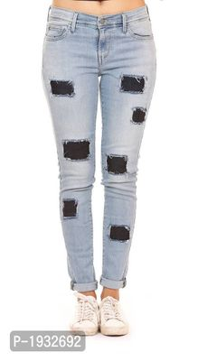 Frayed and Dark Blue Patched Skinny Fit Jeans