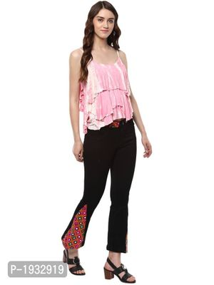 Bell Hem Fusion Embroidered Black Jeans