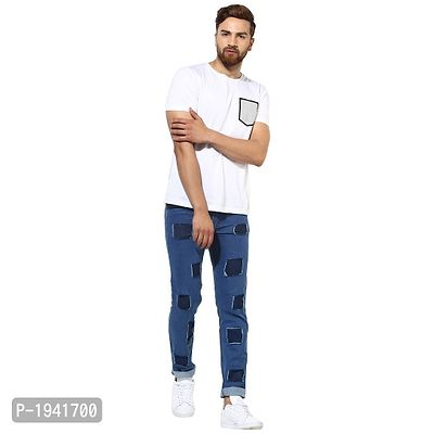 Multi Square Patched Blue Jeans