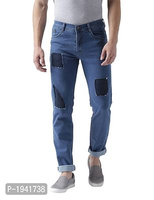 Geometrical ripped and Patched Blue Jeans