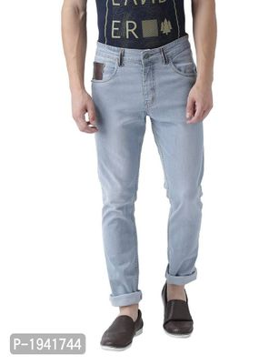 Leather Patches Detailled Light Blue Jeans