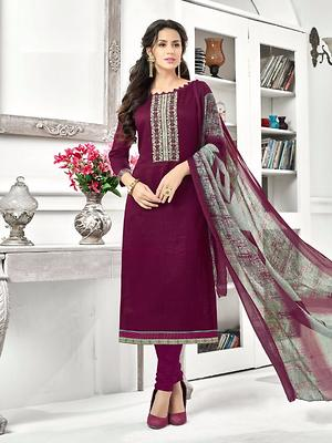 Stylee Lifestyle Wine Cotton Embroidered Dress Material