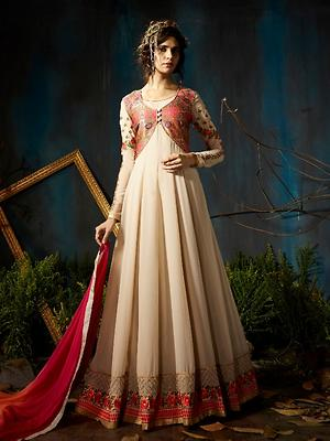Rust Georgette Embroidered Dress Material