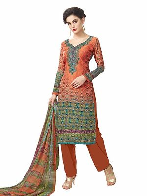 Rust Pashmina Embroidered Dress Material