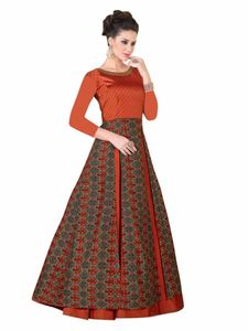 Stylee Lifestyle Rust Satin Embroidered Gown