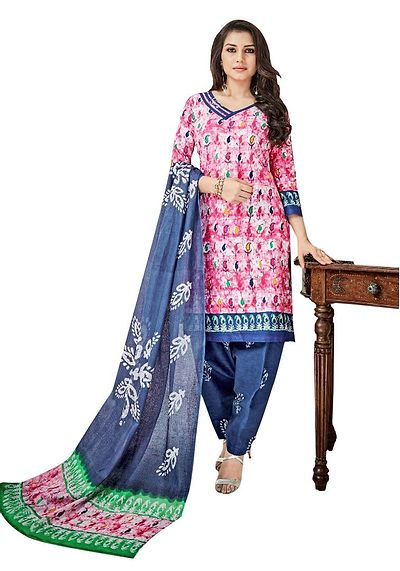 Multicoloured Printed Cotton Dress Material