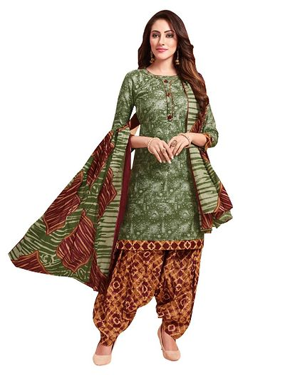 Green Printed Cotton Dress Material