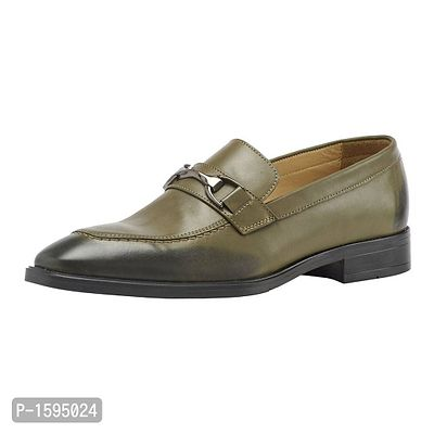 Olive Leather Slip-On Shoes Formal Shoes