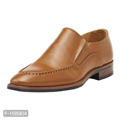 Tan Leather Slip-On Shoes Formal Shoes