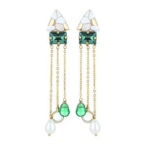 White & Golden Enamel Studs With Green Swarovski & Golden Chains And Crystals