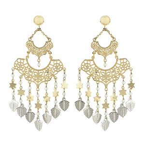 Golden Studs With Filligree And Silver Charms