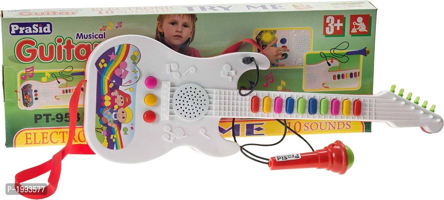 White Musical Guitar With Mic