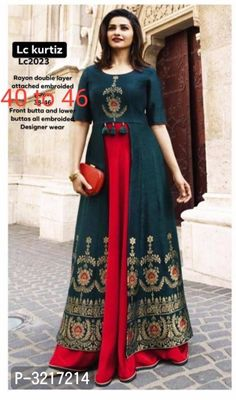 Reliable Navy Blue Embroidered Rayon Double Layer Women's Kurti