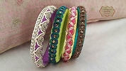 Silk thread and crochet lace bangles